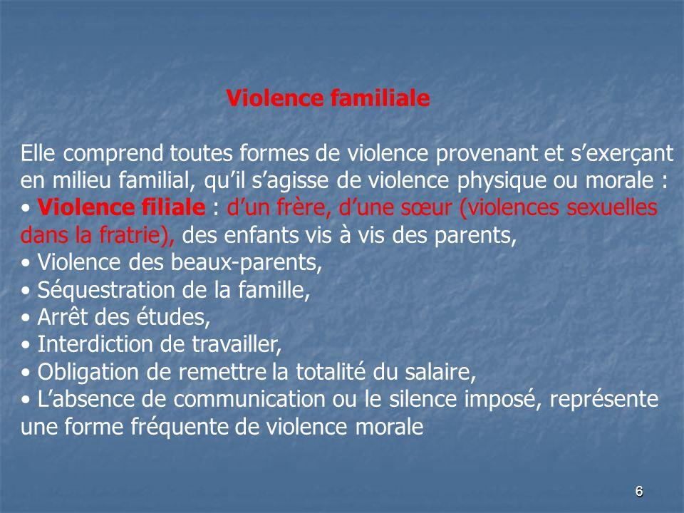 6 Violence familiale Elle comprend toutes formes de violence provenant et sexerçant en milieu familial, quil sagisse de violence physique ou morale :
