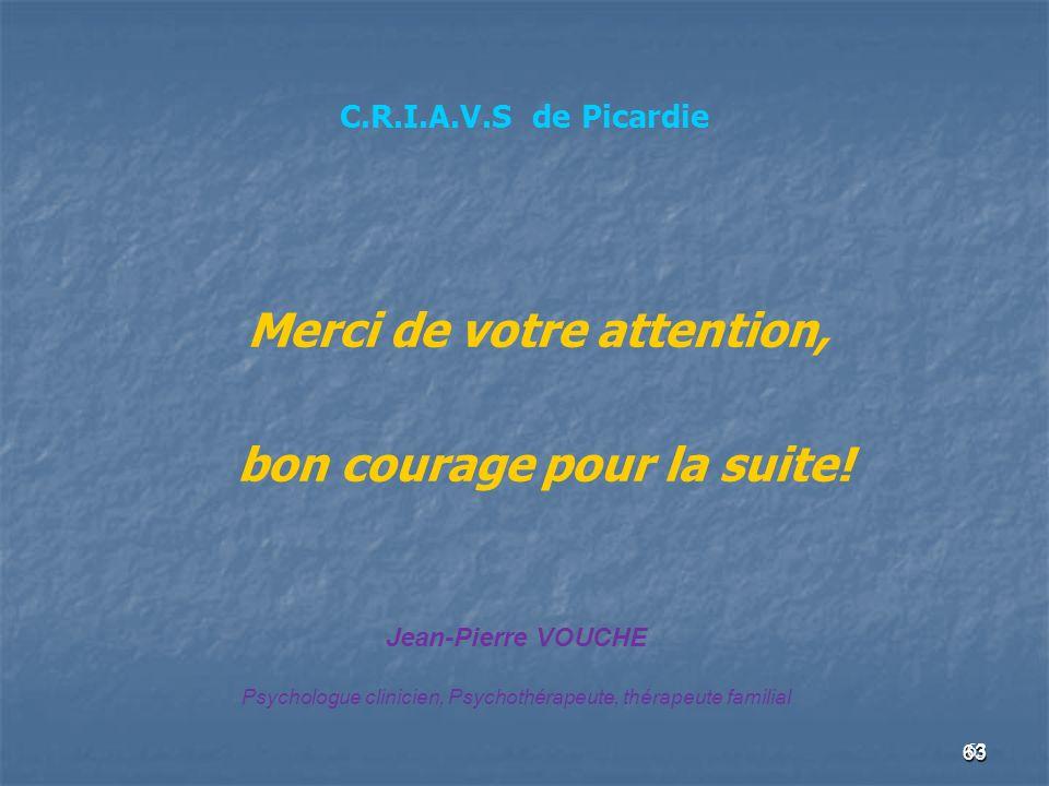 63 C.R.I.A.V.S de Picardie Merci de votre attention, bon courage pour la suite! 63 Jean-Pierre VOUCHE Psychologue clinicien, Psychothérapeute, thérape