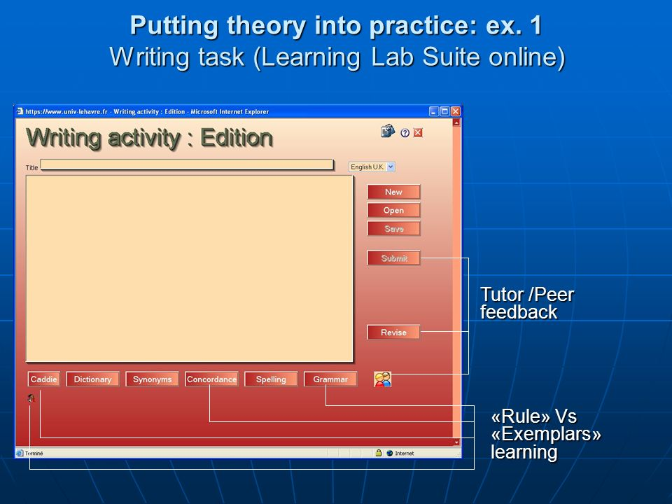 Putting theory into practice: ex.