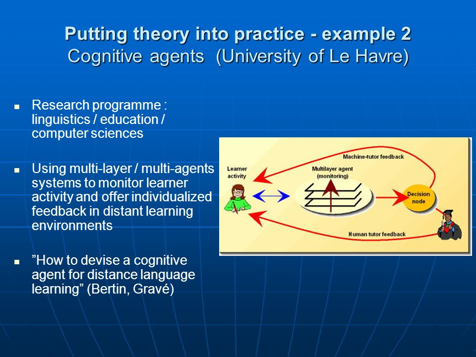 Putting theory into practice - example 2 Cognitive agents (University of Le Havre) Research programme : linguistics / education / computer sciences Using multi-layer / multi-agents systems to monitor learner activity and offer individualized feedback in distant learning environments How to devise a cognitive agent for distance language learning (Bertin, Gravé)