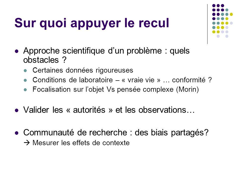 Sur quoi appuyer le recul Approche scientifique dun problème : quels obstacles ? Certaines données rigoureuses Conditions de laboratoire – « vraie vie