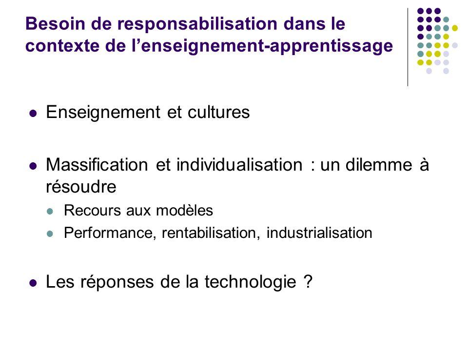 Besoin de responsabilisation dans le contexte de lenseignement-apprentissage Enseignement et cultures Massification et individualisation : un dilemme