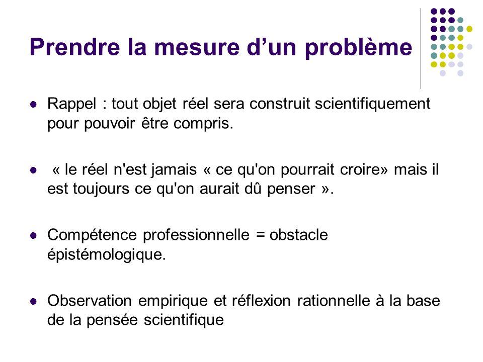 Prendre la mesure dun problème Rappel : tout objet réel sera construit scientifiquement pour pouvoir être compris. « le réel n'est jamais « ce qu'on p