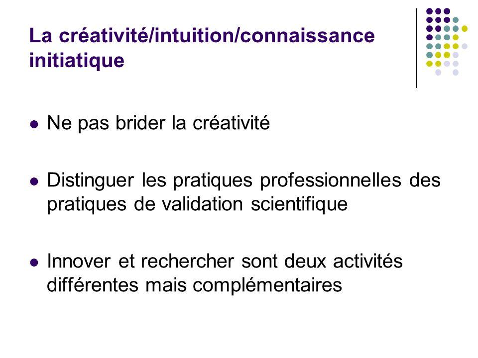 La créativité/intuition/connaissance initiatique Ne pas brider la créativité Distinguer les pratiques professionnelles des pratiques de validation sci