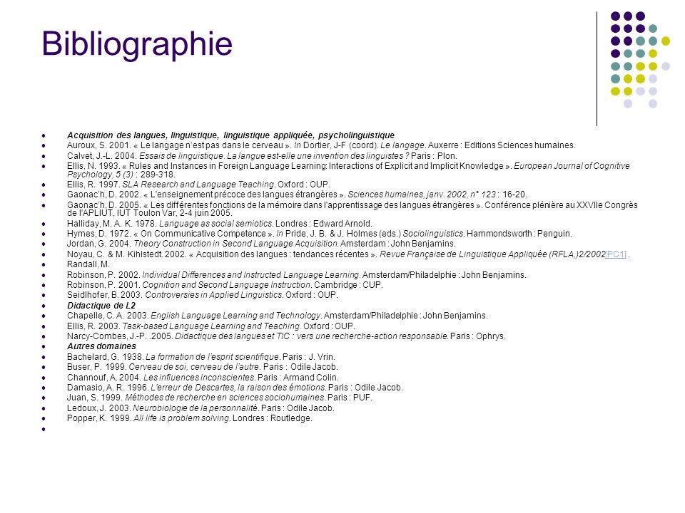 Bibliographie Acquisition des langues, linguistique, linguistique appliquée, psycholinguistique Auroux, S. 2001. « Le langage nest pas dans le cerveau