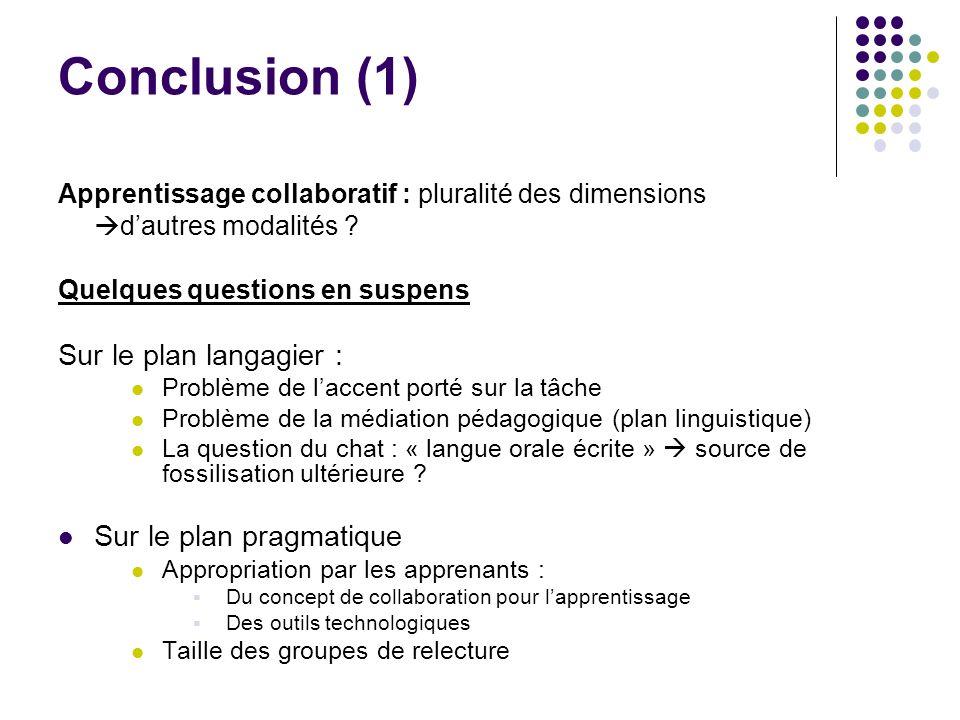 Conclusion (1) Apprentissage collaboratif : pluralité des dimensions dautres modalités ? Quelques questions en suspens Sur le plan langagier : Problèm