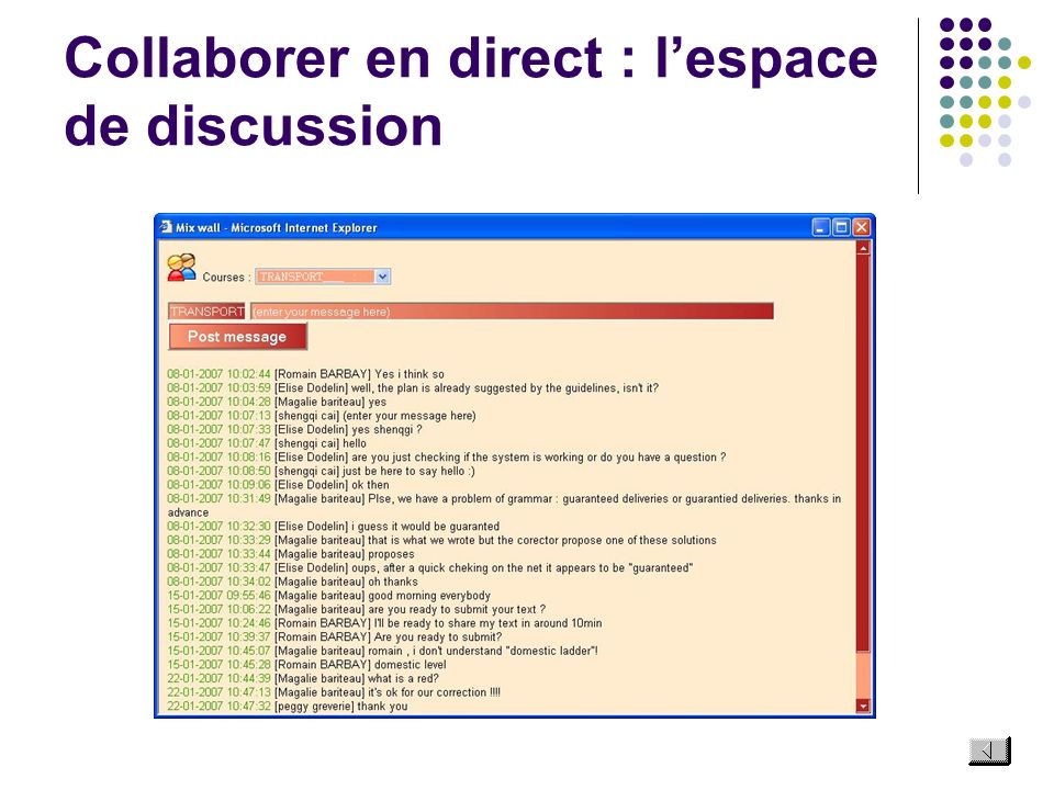 Collaborer en direct : lespace de discussion