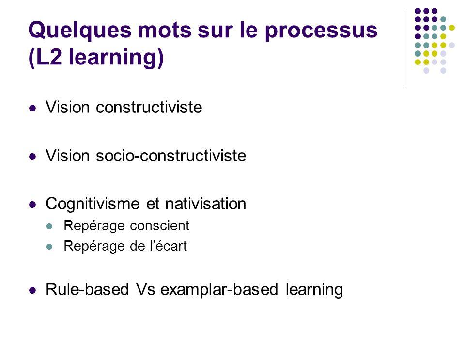 Quelques mots sur le processus (L2 learning) Vision constructiviste Vision socio-constructiviste Cognitivisme et nativisation Repérage conscient Repér