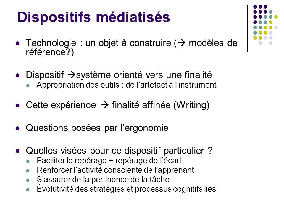 Dispositifs médiatisés Technologie : un objet à construire ( modèles de référence?) Dispositif système orienté vers une finalité Appropriation des out