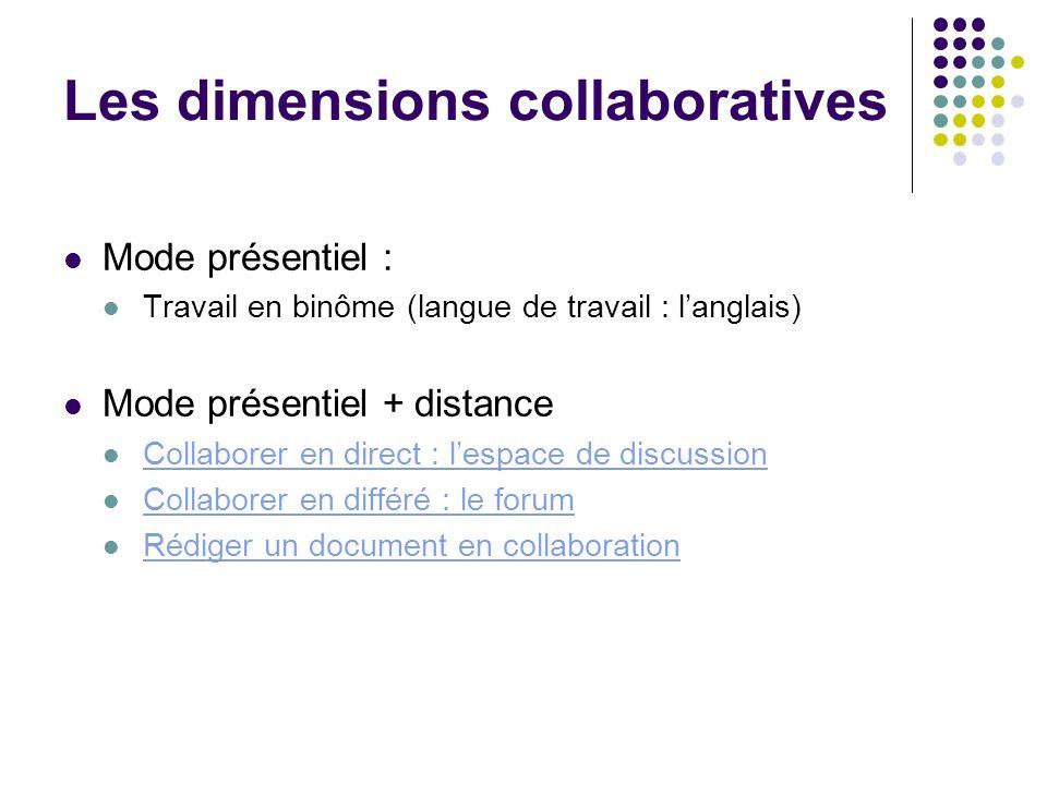 Les dimensions collaboratives Mode présentiel : Travail en binôme (langue de travail : langlais) Mode présentiel + distance Collaborer en direct : les