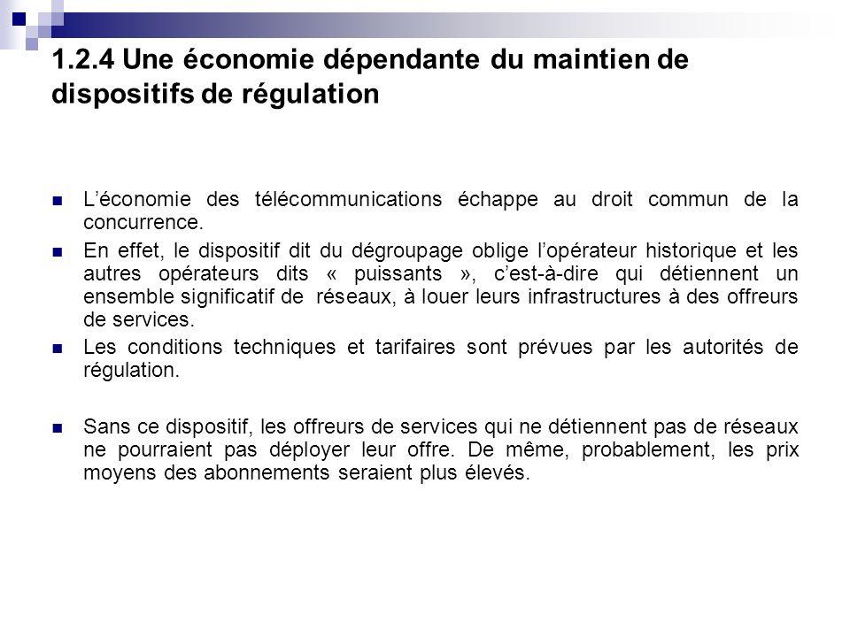 1.2.4 Une économie dépendante du maintien de dispositifs de régulation Léconomie des télécommunications échappe au droit commun de la concurrence.