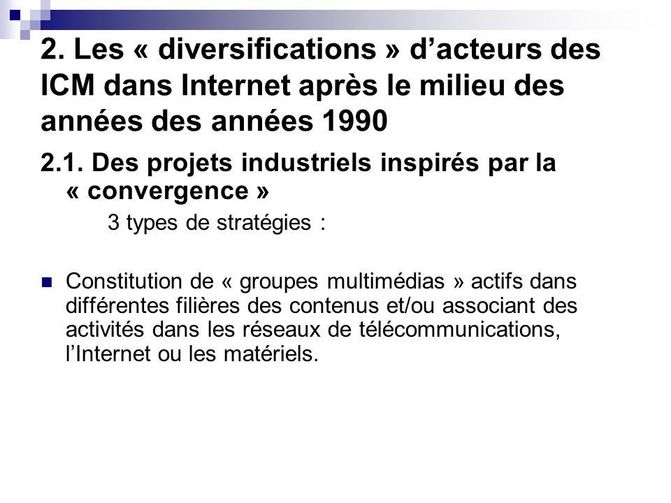 2. Les « diversifications » dacteurs des ICM dans Internet après le milieu des années des années 1990 2.1. Des projets industriels inspirés par la « c