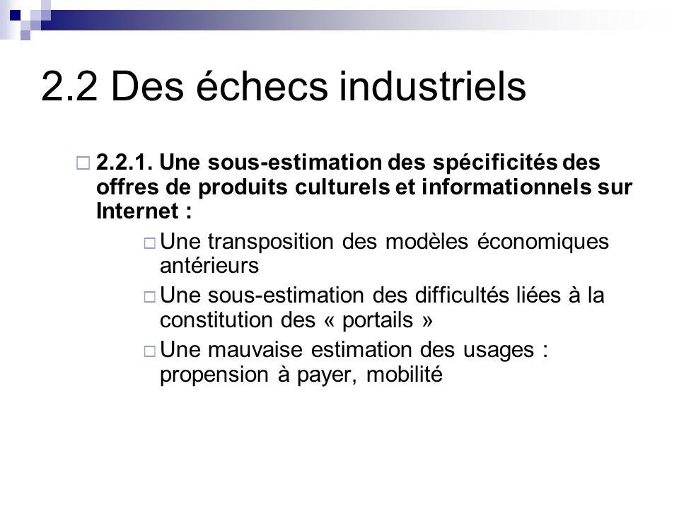 2.2 Des échecs industriels 2.2.1.