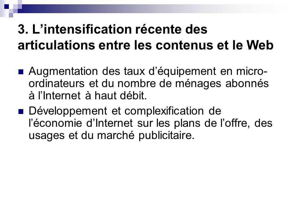 3. Lintensification récente des articulations entre les contenus et le Web Augmentation des taux déquipement en micro- ordinateurs et du nombre de mén