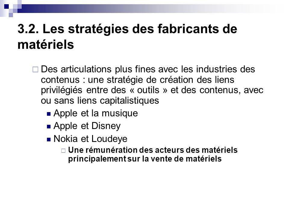 3.2. Les stratégies des fabricants de matériels Des articulations plus fines avec les industries des contenus : une stratégie de création des liens pr
