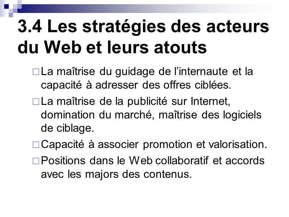 3.4 Les stratégies des acteurs du Web et leurs atouts La maîtrise du guidage de linternaute et la capacité à adresser des offres ciblées.