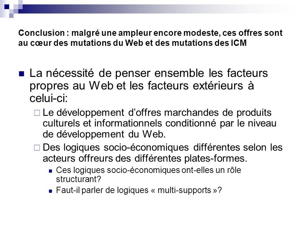 Conclusion : malgré une ampleur encore modeste, ces offres sont au cœur des mutations du Web et des mutations des ICM La nécessité de penser ensemble les facteurs propres au Web et les facteurs extérieurs à celui-ci: Le développement doffres marchandes de produits culturels et informationnels conditionné par le niveau de développement du Web.