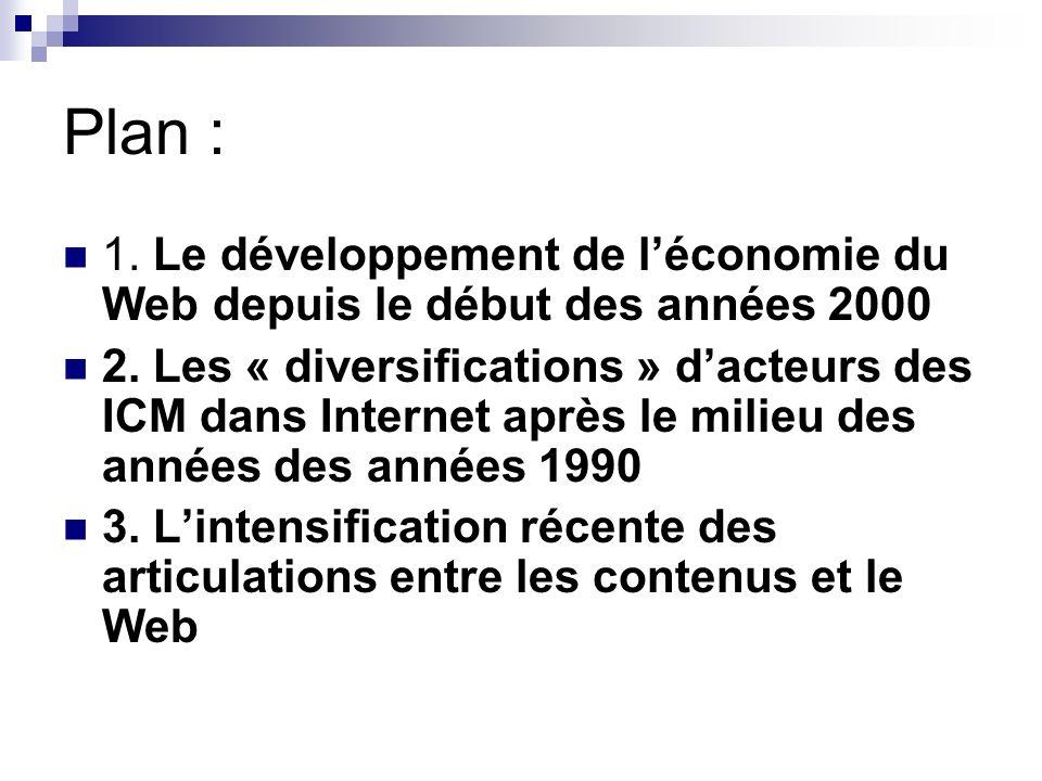 Plan : 1. Le développement de léconomie du Web depuis le début des années 2000 2.