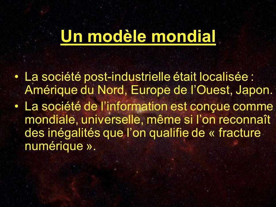 Un modèle mondial La société post-industrielle était localisée : Amérique du Nord, Europe de lOuest, Japon.
