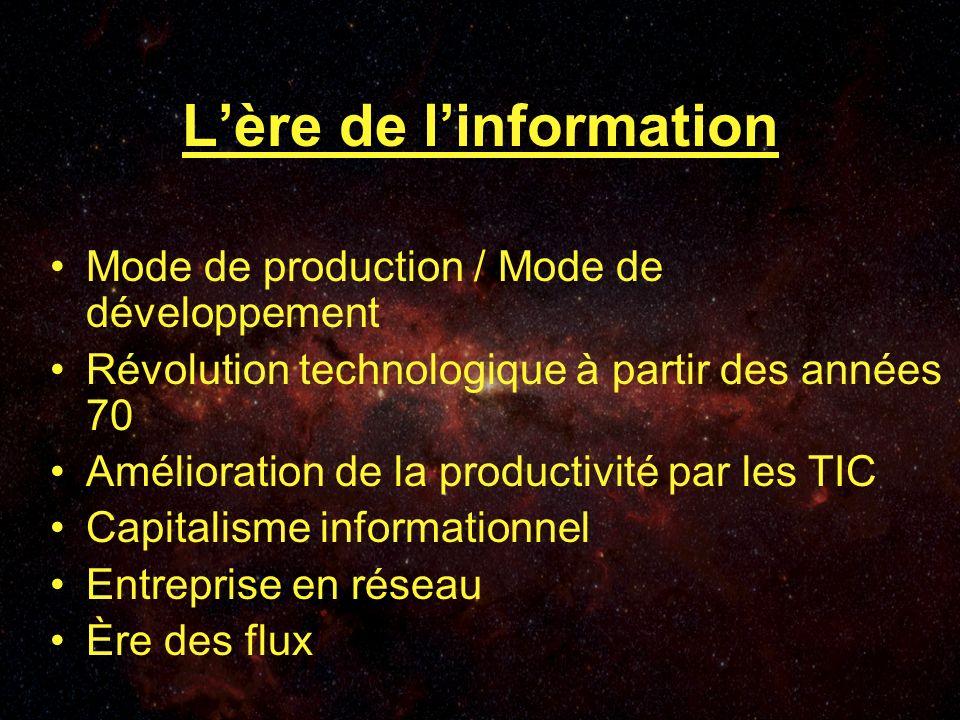 Lère de linformation Mode de production / Mode de développement Révolution technologique à partir des années 70 Amélioration de la productivité par les TIC Capitalisme informationnel Entreprise en réseau Ère des flux