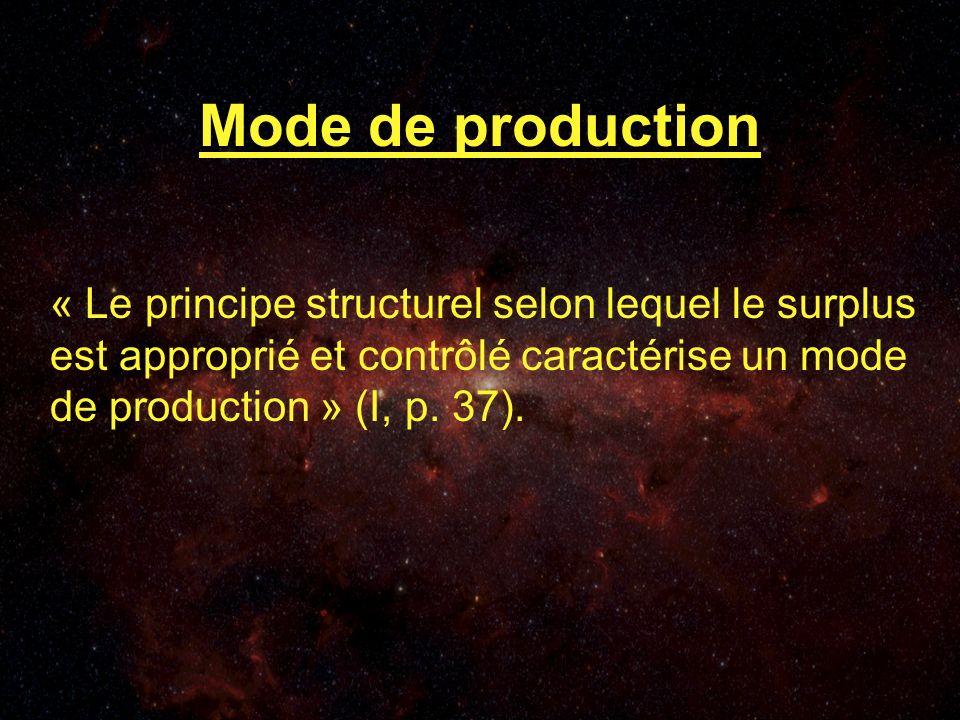 Mode de production « Le principe structurel selon lequel le surplus est approprié et contrôlé caractérise un mode de production » (I, p.