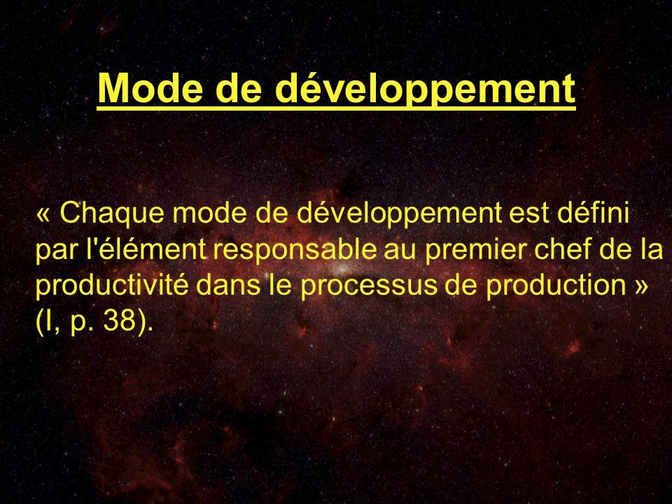 Mode de développement « Chaque mode de développement est défini par l élément responsable au premier chef de la productivité dans le processus de production » (I, p.