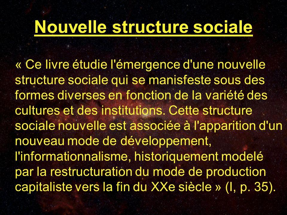 Nouvelle structure sociale « Ce livre étudie l émergence d une nouvelle structure sociale qui se manisfeste sous des formes diverses en fonction de la variété des cultures et des institutions.