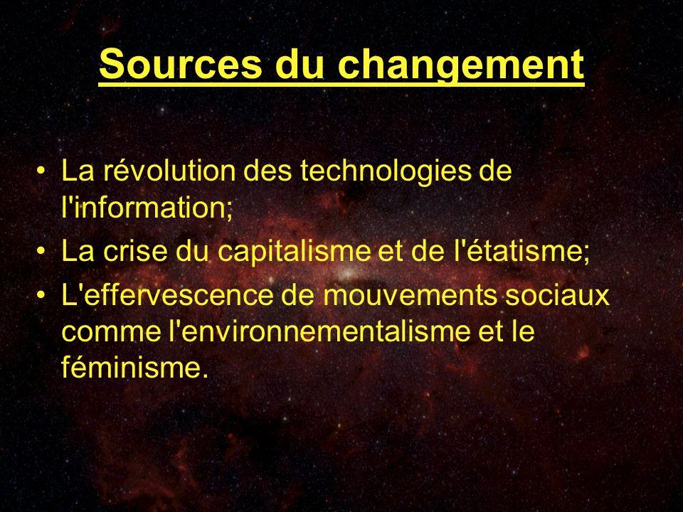 Sources du changement La révolution des technologies de l information; La crise du capitalisme et de l étatisme; L effervescence de mouvements sociaux comme l environnementalisme et le féminisme.