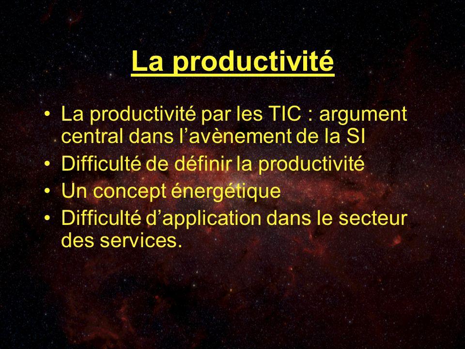 La productivité La productivité par les TIC : argument central dans lavènement de la SI Difficulté de définir la productivité Un concept énergétique Difficulté dapplication dans le secteur des services.