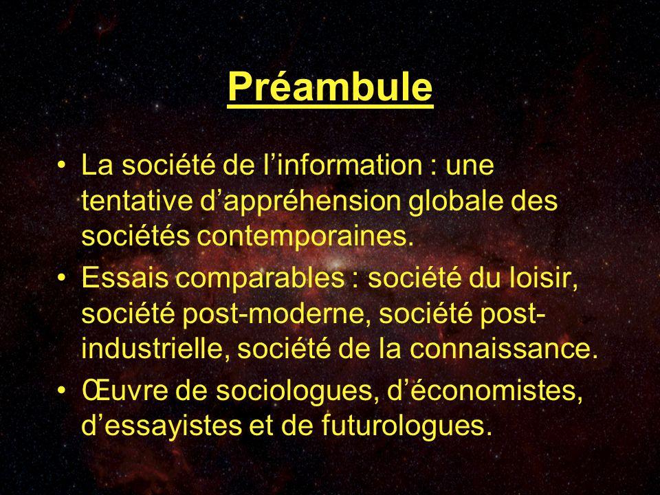 Préambule La société de linformation : une tentative dappréhension globale des sociétés contemporaines.