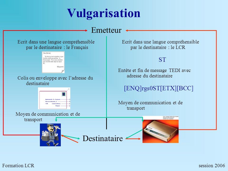 Vulgarisation Emetteur Formation LCR session 2006 Ecrit dans une langue compréhensible par le destinataire : le Français Ecrit dans une langue compréh