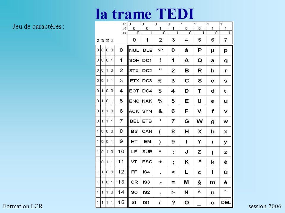 la trame TEDI Formation LCR session 2006 Jeu de caractères :