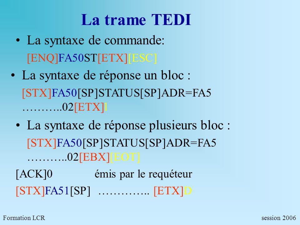 La trame TEDI Formation LCR session 2006 La syntaxe de commande: [ENQ]FA50ST[ETX][ESC] La syntaxe de réponse un bloc : [STX]FA50[SP]STATUS[SP]ADR=FA5