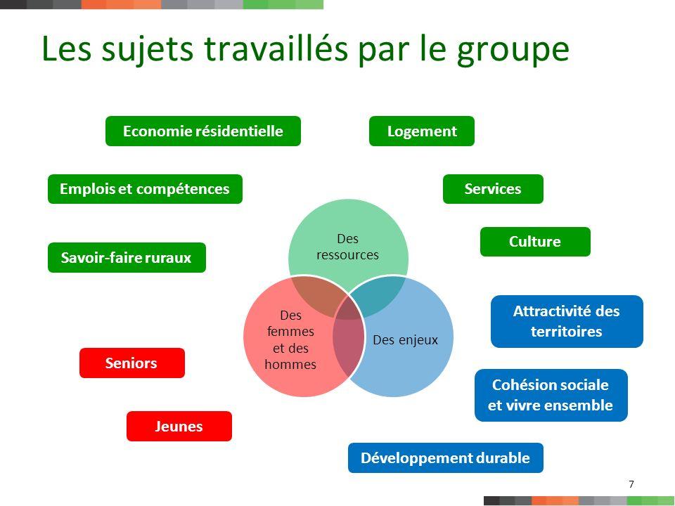 Les sujets travaillés par le groupe 8 Politiques daccueil Ce qui fait lien (question de la cohésion sociale et du vivre ensemble) Ce qui fait quils soient attractifs Ce qui fait ressources pour les territoires ruraux