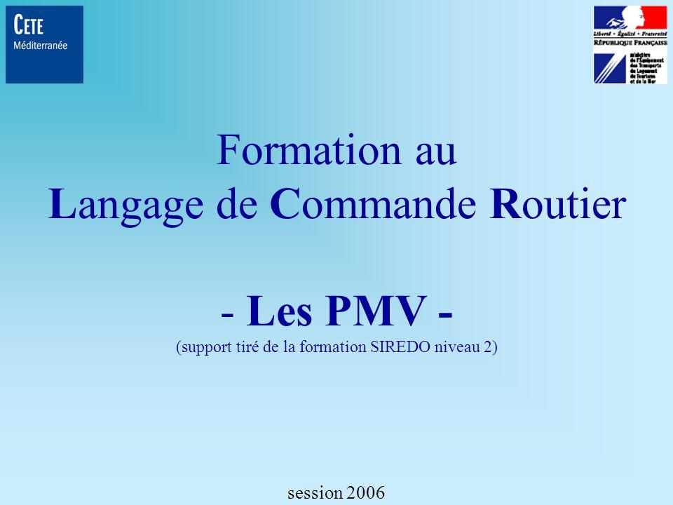 PM Pilotage du panneau par macro-commande PM Nom_macro Formation LCR- Commandes de configurations - session 2006 CFMP <CR> NEUTRE/1 PA AM=*.* AF=0<LF><CR> BOUCHON/1 PM NEUTRE<LF><CR> BOUCHON/2 TP=500<LF><CR> BOUCHON/2 PA AM=3 AF=DANG<LF><CR> BOUCHON/3 PA AM=1.0 AF=BOU4 AM=1.1 AF= RALENTIR .