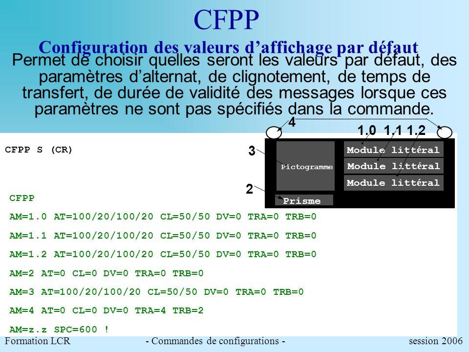 CFES Configuration des équivalences symbolliques Exemple de configuration : 1.2 Module litt é ral Pictogramme Prisme 1.01.1 4 3 2 Formation LCR- Comma