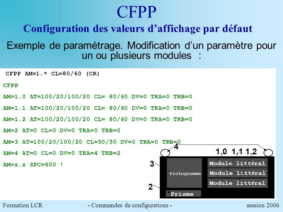CFPP Configuration des valeurs daffichage par défaut Permet de choisir quelles seront les valeurs par défaut, des paramètres dalternat, de clignotemen