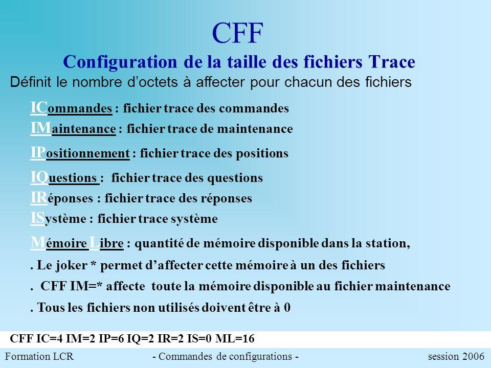 Formation LCR- Commandes de configurations - session 2006 CFPP Configuration des valeurs daffichage par défaut Exemple de paramétrage. Modification du