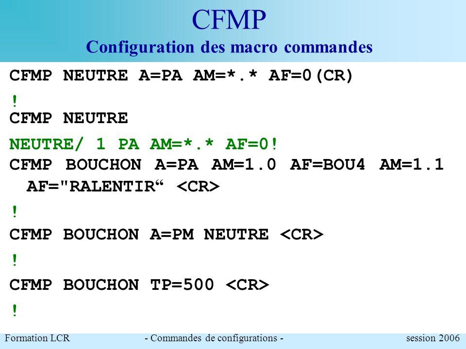 CFMP Configuration des macro commandes Permet de créer et configurer les macro commandes pour le positionnement rapide du PMV dans un état particulier