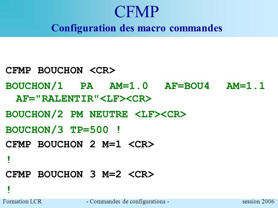 CFMP Configuration des macro commandes Formation LCR- Commandes de configurations - session 2006 CFMP NEUTRE A=PA AM=*.* AF=0(CR) ! CFMP NEUTRE NEUTRE