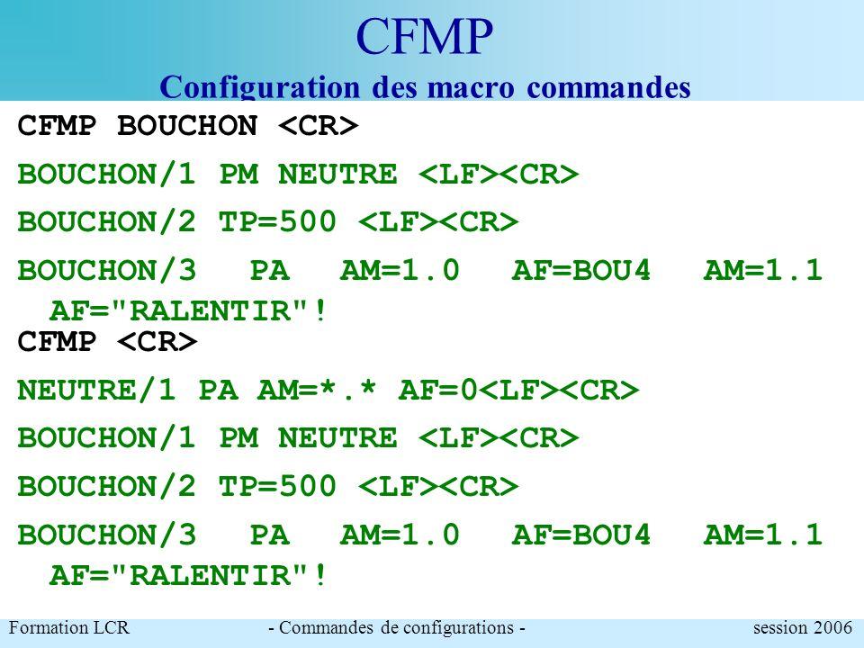 CFMP Configuration des macro commandes Formation LCR- Commandes de configurations - session 2006 CFMP BOUCHON <CR> BOUCHON/1 PA AM=1.0 AF=BOU4 AM=1.1