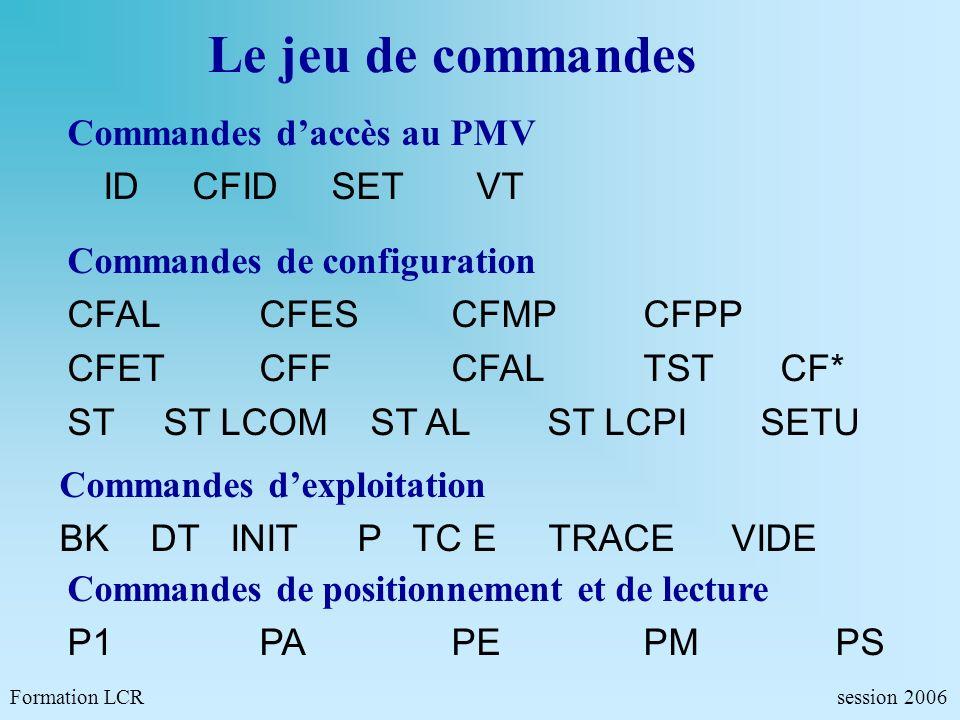 Formation LCR- Commandes de configurations - session 2006 TRACE Lecture des fichiers trace Lecture des 3 dernières lignes des commandes reçues précédant 13h20 TRACE N=3 U=&Q T=08/10/06 13:20:00 (CR) 08/10 12:22:55:02 C P<LF><CR> 08/10 12:22:55:10 C ID SECRET <LF><CR> 08/10 13:10:10:04 C TRACE N=9 U=&M .
