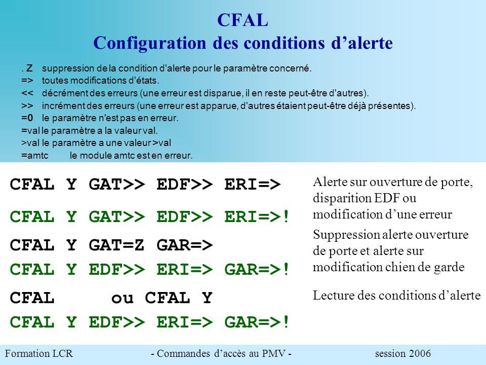 CFAL Configuration des conditions dalerte Permet de paramétrer les conditions dalerte à partir des paramètres du STATUS de premier niveau. Syntaxe : C