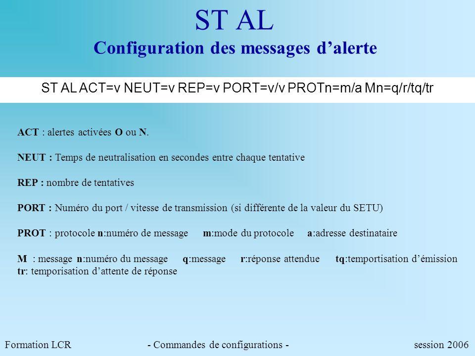 CFAL Configuration des conditions dalerte. Z suppression de la condition d'alerte pour le paramètre concerné. => toutes modifications d'états. << décr