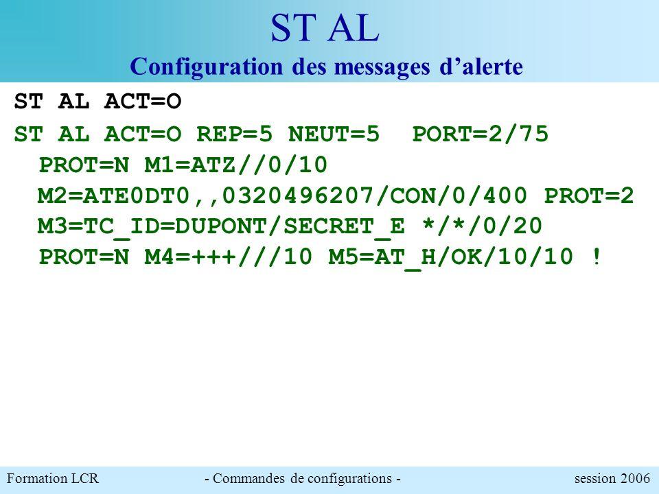 Formation LCR- Commandes de configurations - session 2006 ST AL Configuration des messages dalerte ST AL ACT=N REP=5 NEUT=5 PORT=2/75 PROT=N M1=ATZ//0