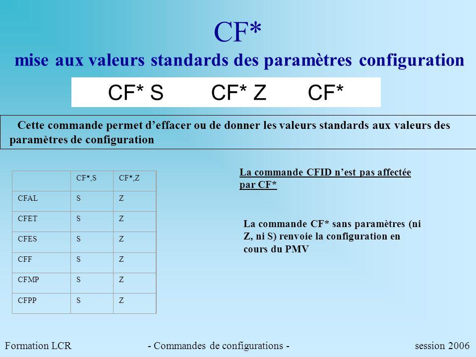 Formation LCR- Commandes de configurations - session 2006 Cette commande permet de regrouper toutes les commandes privatives de test de mise au point