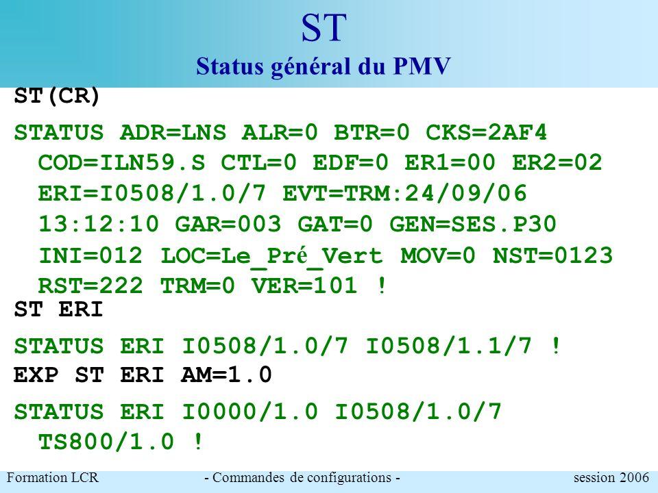 ST Status général du PMV Contient les renseignements généraux sur létat de léquipement Paramètres modifiables :.LOC : localisation de la station ( 14