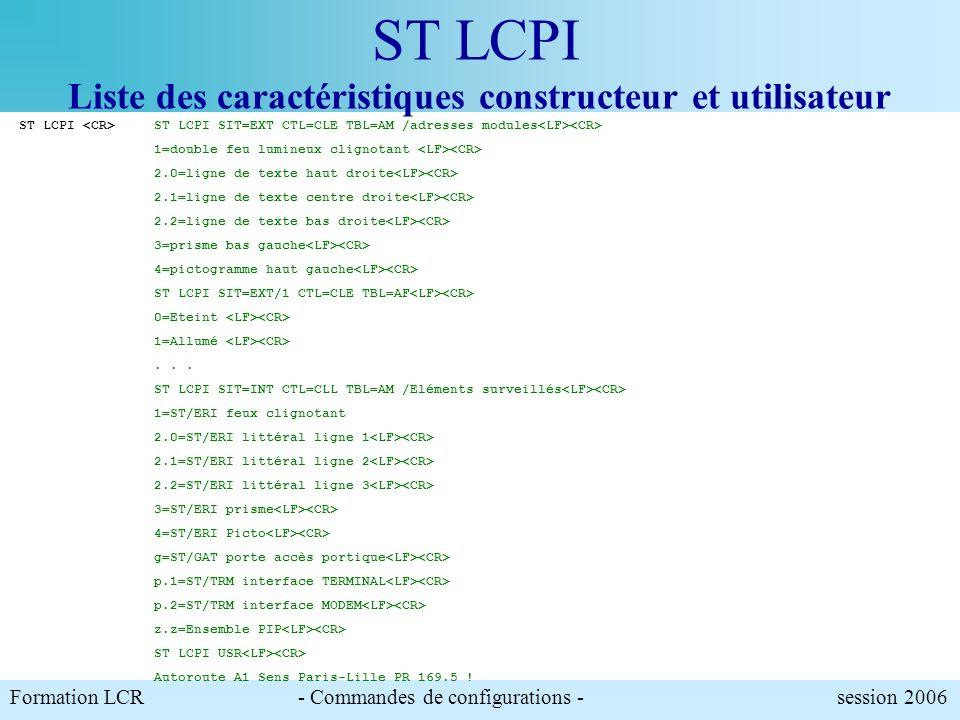 Formation LCR- Commandes de configurations - session 2006 Cette commande permet dobtenir les caractéristiques complètes du PIP. ST LCPI ST LCPI Liste