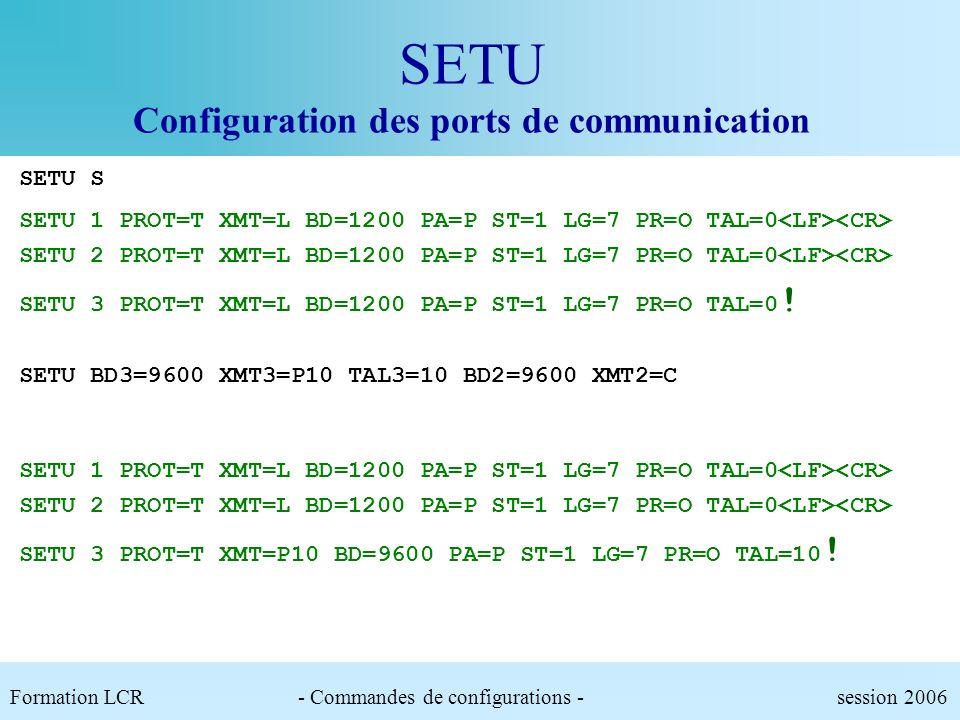 SETU Paramètre des ports Configuration des ports de communication de léquipement.PROT : Protocole utilisé.XMT : Média et nombre de caractères préfixe