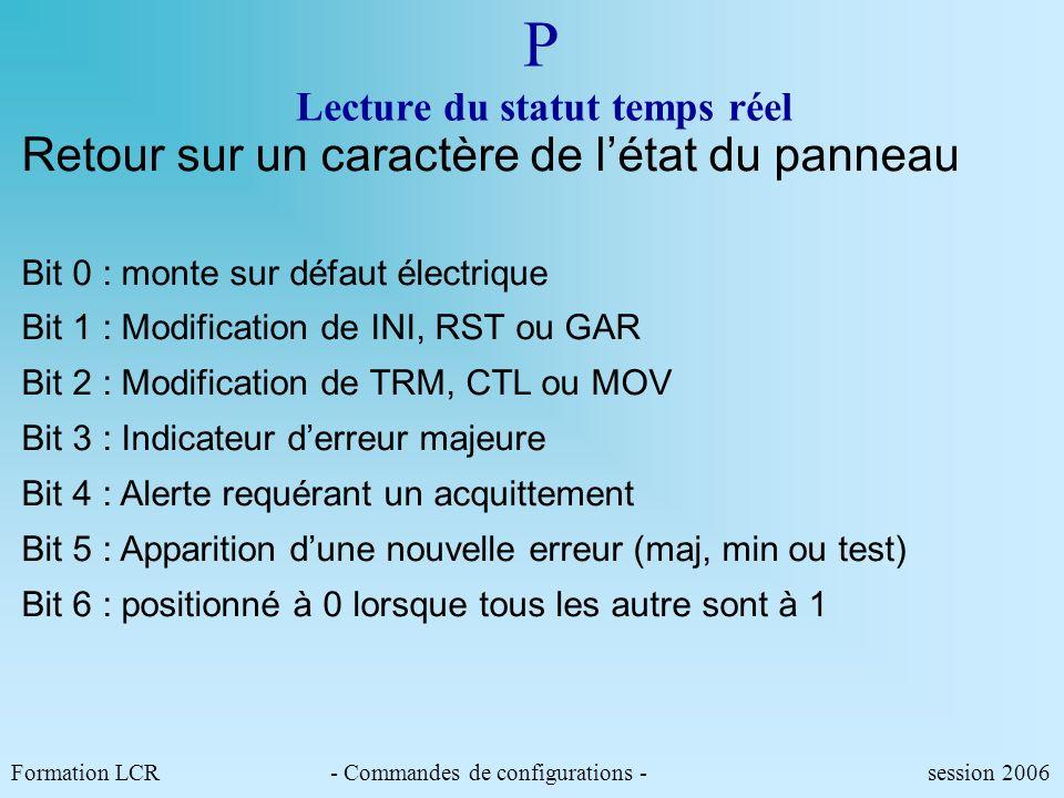 Formation LCR- Commandes de configurations - session 2006 INIT Réinitialisation du PIP Cette commande permet de réinitialiser le pilote informatique d